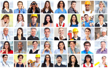 PERSONAS: Los hombres de negocios se enfrenta a los trabajadores collage de fondo. concepto de trabajo en equipo. Foto de archivo