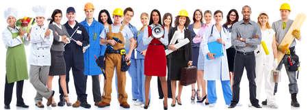 obreros trabajando: Grupo de personas de los trabajadores aislados sobre fondo blanco.