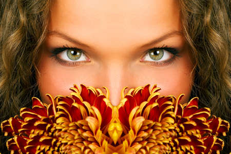 hypnosis: mysterious woman eyes Stock Photo