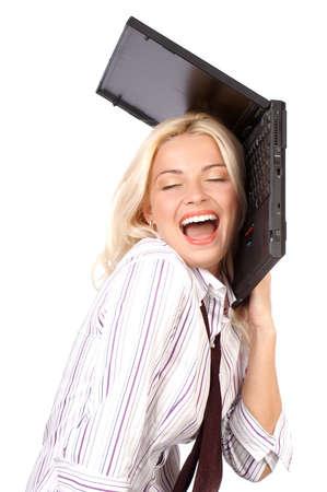 müdigkeit: h�bsche Gesch�ftsfrau, die Laptop h�lt. Lokalisierter wei�er �berm��ighintergrund.