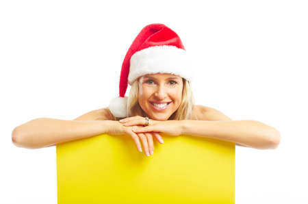 plackard: Young happy woman  in Christmas hats. Isolated over white background