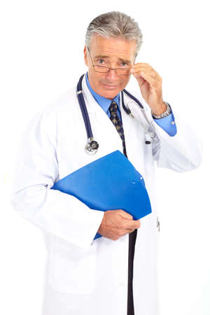 old people: Serious medical doctor with stethoscope. Isolated over white background  Stock Photo