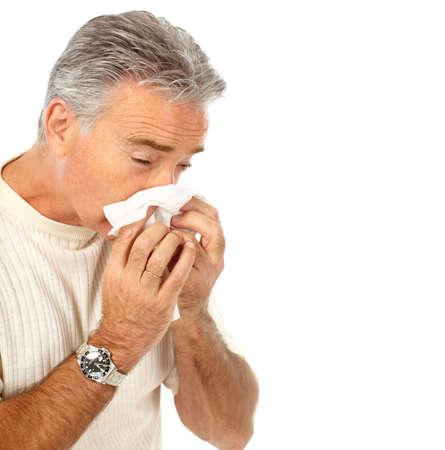 angina: Mann, der die Grippe. Isolated over white background Lizenzfreie Bilder