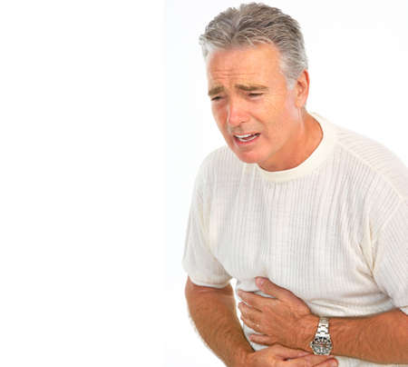 poisoning: dolori allo stomaco con l'uomo. Isolated over white background