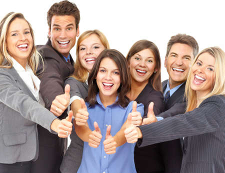 professionals: Large group of young smiling business people. Over white background