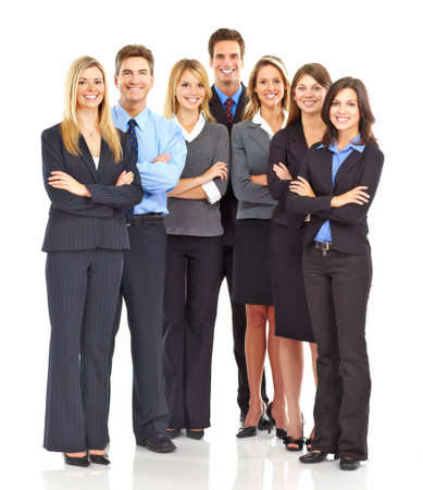 large group: Large group of young smiling business people. Over white background