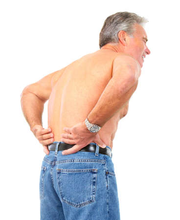 spinal conditions: man having back pain. Isolated over white background