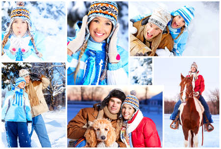 winter fashion: Young  happy smiling couple in love. Winter  Stock Photo