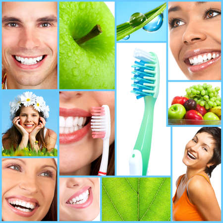 dental smile: Smiling people with healthy teeth. Close up