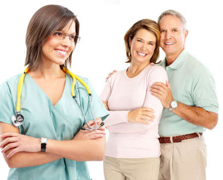 old people: Smiling medical doctor with stethoscope and elderly couple