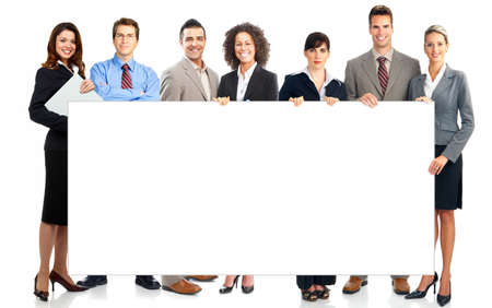 board: Large group of young smiling business people. Over white background