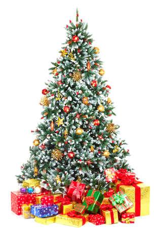 �rbol de Navidad y Regalos. Sobre fondo blanco Foto de archivo