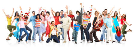 diversity: Happy funny people. Isolated over white background