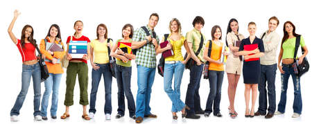 youth group: Large group of smiling  students. Isolated over white background