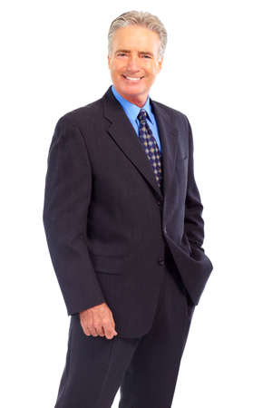 Smiling businessman maduro. Aislado sobre fondo blanco Foto de archivo