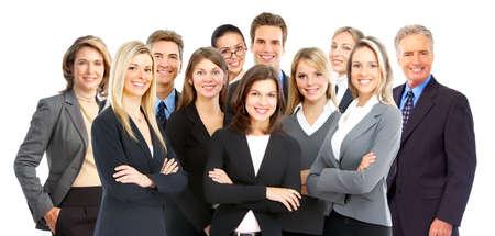 werk: Grote groep jonge lachende mensen uit het bedrijfsleven. Over witte achtergrond