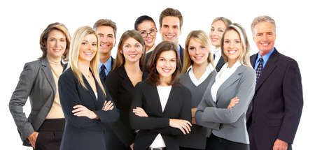 meet: Large group of young smiling business people. Over white background