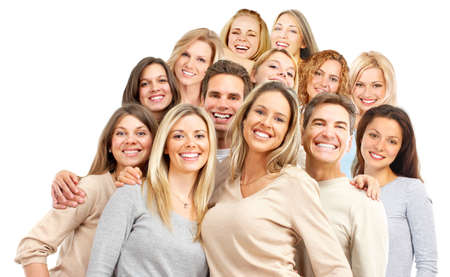 backgrounds: Happy funny people. Isolated over white background