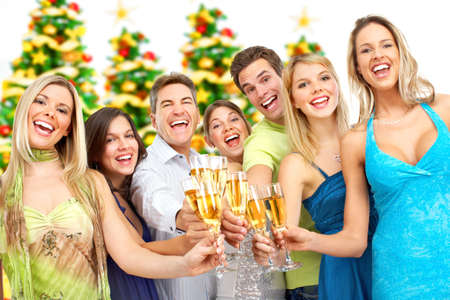 company party: Happy funny people. Christmas. Party. Isolated over white background Stock Photo