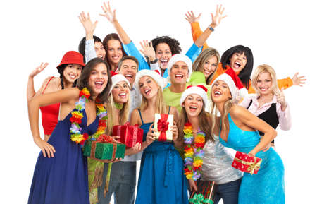 happy christmas: Happy funny people. Christmas. Party. Isolated over white background