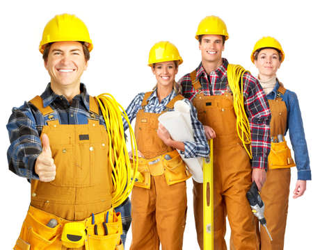 constructors: Young builder people  in yellow uniform. Isolated over white background