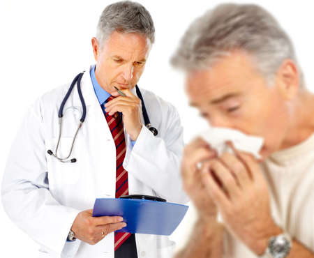 grippe: Doctor and man having the flu. Isolated over white background Stock Photo
