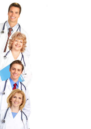 stethoscope: Smiling medical doctors with stethoscope. Isolated over white background