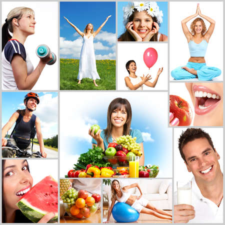 healthy person: Young smiling women  with fruits and vegetables