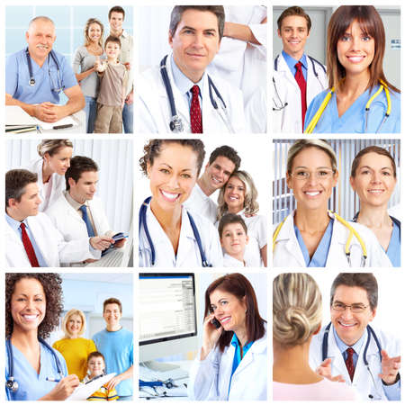 health issue: Smiling medical doctors with stethoscopes.