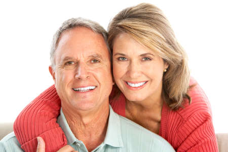 healthy seniors: Happy seniors couple in love. Isolated over white background  Stock Photo