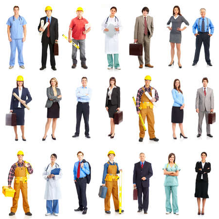 a person: Business people, builders, nurses, doctors, workers. Isolated over white background