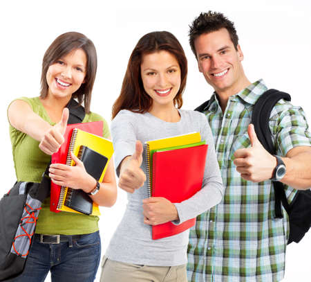 group of smiling  students. Isolated over white background Stock Photo