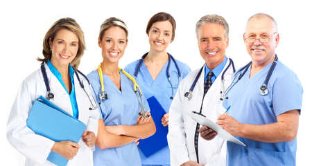 young doctors: Smiling medical doctors with stethoscopes. Isolated over white background