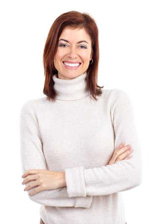 donne mature sexy: Bella donna sorridente. Isolato su sfondo bianco Archivio Fotografico