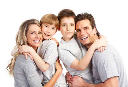 family health: Happy family. Father, mother and children. Over white background