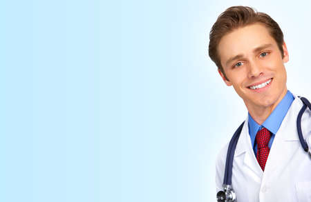 stethoscope: Smiling medical doctor with stethoscope. Over blue background