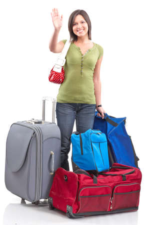 viajero: Mujer feliz tur�stica. Aislados sobre fondo blanco