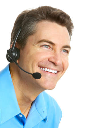telephone headsets: Smiling customer service operator. Over white background