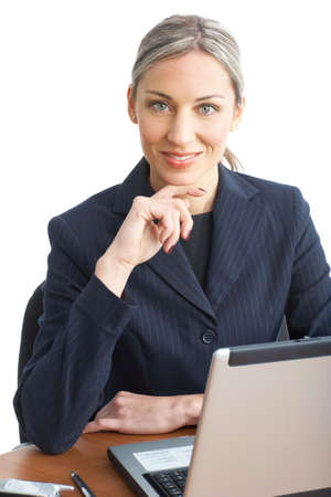 are working: Young smiling  business woman working with laptop