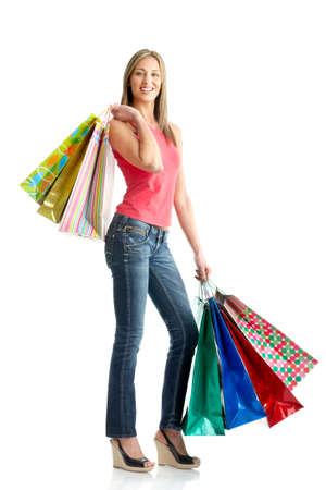 beauty shop: Shopping happy  woman. Isolated over white background  Stock Photo