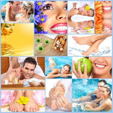 salon and spa: Spa massage collage background