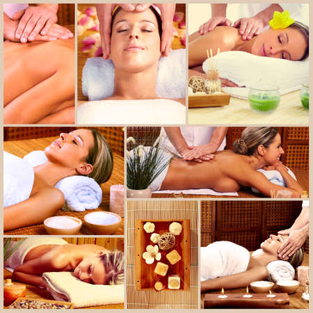 back massage: Spa massage collage background