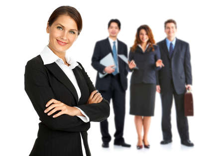 group  accountant: Woman and group of business people