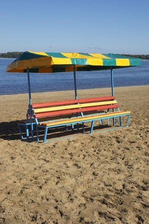 bench on the beach photo