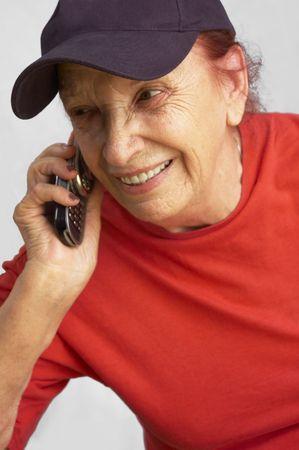 grandmama speaking on the mobile phone Stock Photo - 227251
