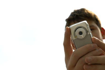 teen try to shoot you with mobile-phone Stock Photo