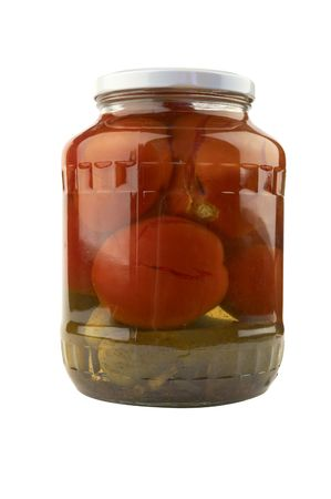 marinaded vegetables in the glass can photo
