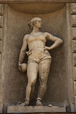adroitness: sculpture of the active young woman Stock Photo