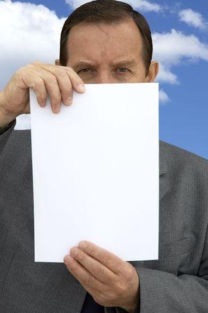 moneymaker: businessman with empty blank