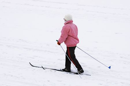 staunch: woman skier